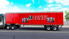 Skin Tecate on a curtain semi-trailer