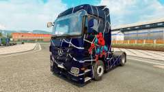 Skin Spider-Man on a tractor unit Mercedes-Benz