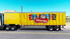 Skin Sabritas on a curtain semi-trailer