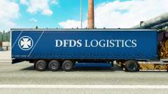 Skin DFDS Logistics on a curtain semi-trailer for Euro Truck Simulator 2
