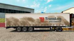 Skin Trans Log on a curtain semi-trailer