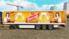 Skin Gambrinus on a curtain semi-trailer for Euro Truck Simulator 2