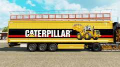 Skin Caterpillar v2 on a curtain semi-trailer for Euro Truck Simulator 2