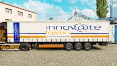 Skin Innovate Logistics on a curtain semi-traile