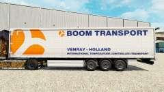 Skin Boom Transport on semi-trailer curtain