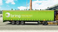 Skin of Bring Logistics on a curtain semi-trailer for Euro Truck Simulator 2