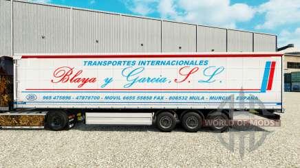 Skin Blaya Garcia y J. L. on a curtain semi-trailer for Euro Truck Simulator 2
