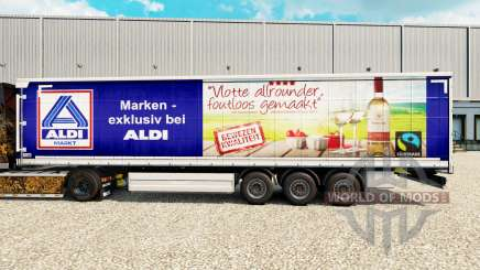 Skin Aldi Markt v2 on a curtain semi-trailer for Euro Truck Simulator 2