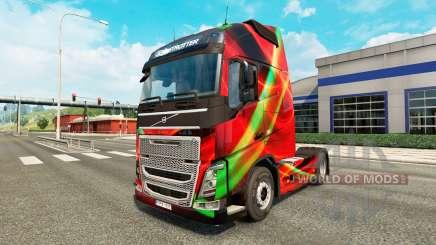 Red Effect skin for Volvo truck for Euro Truck Simulator 2