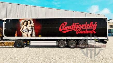 Skin Budweiser on a curtain semi-trailer for Euro Truck Simulator 2