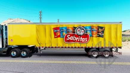 Skin Sabritas on a curtain semi-trailer for American Truck Simulator