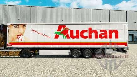 Auchan skin for curtain semi-trailer for Euro Truck Simulator 2