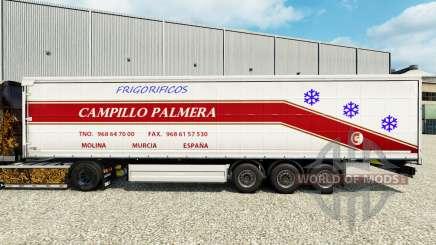 Skin Campillo Palmera on a curtain semi-trailer for Euro Truck Simulator 2