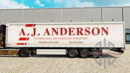 Skin A. J. Anderson on a curtain semi-trailer for Euro Truck Simulator 2