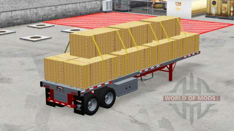 Two-axle semi-trailer platform with the cargo for American Truck Simulator