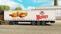 Wendys skin on the trailer curtain for Euro Truck Simulator 2