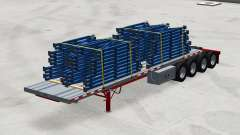 Four-axle semi-trailer platform with the cargo for American Truck Simulator