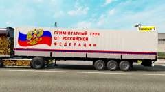 A semitrailer carrying humanitarian cargo