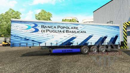 Skins on a curtain semi-trailer for Euro Truck Simulator 2